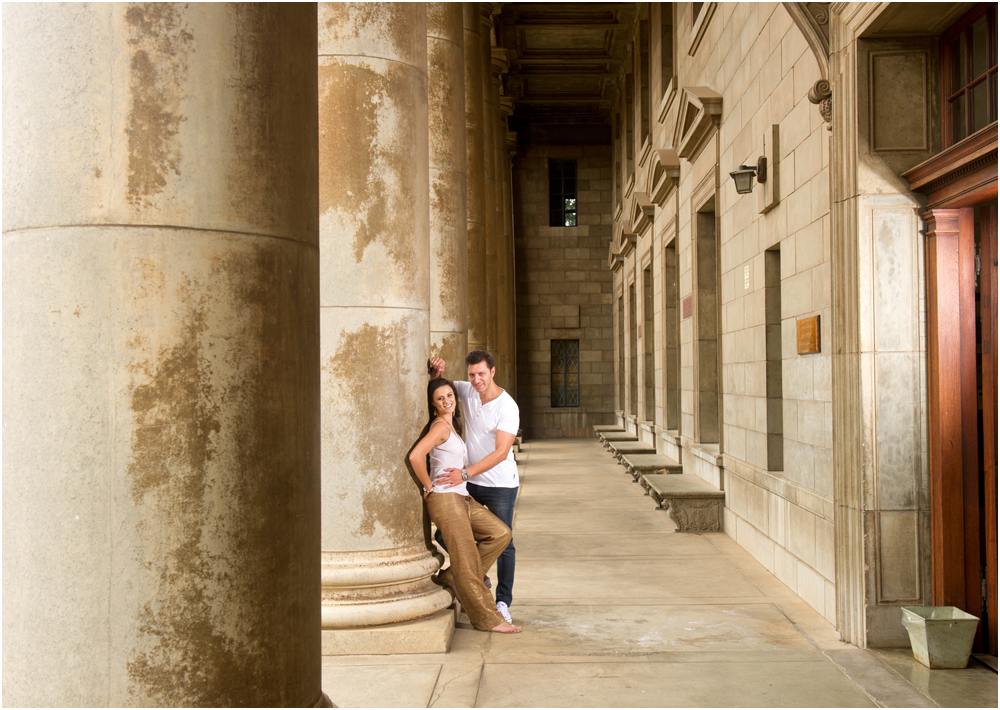 Young couple portrait at Wits Campus in pillars
