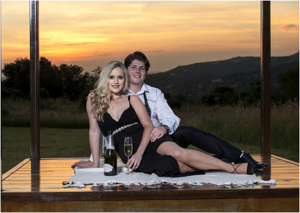 Couple engagement photo shoot with a sunset at Thaba Eco hotel