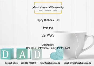 Focal Fusion Photography Dads Birthday Photo Shoot Gift Voucher